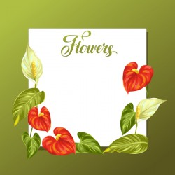 Festvial flower greeting card vector template 03
