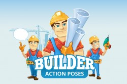 Funny cartoon construction worker vector