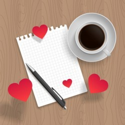 Romantic message with coffee and red heart vector 06