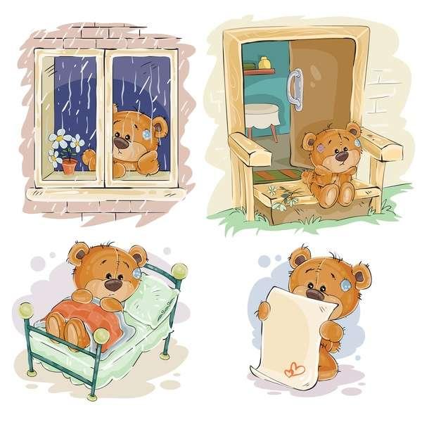 Cartoon teddy bears head drawing vector 06