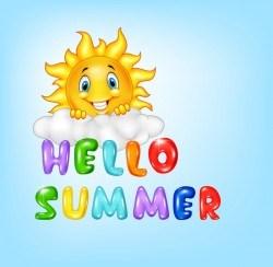 Hello summer cartoon vector material 03