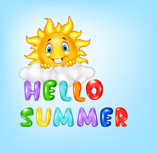 Hello summer cartoon vector material 03