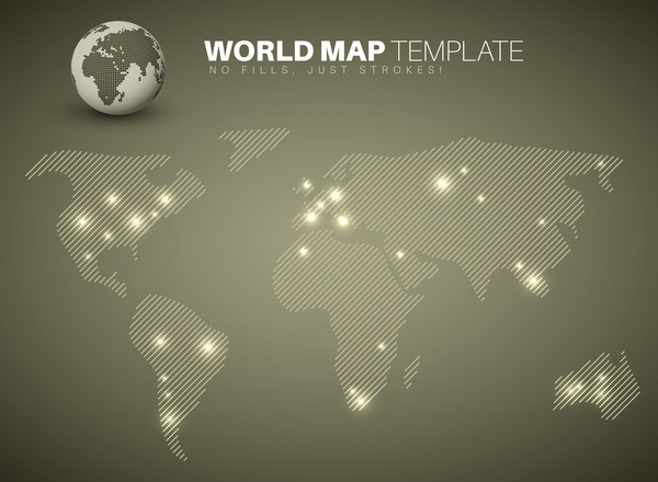 Infographic world map pie charts brown vector 01