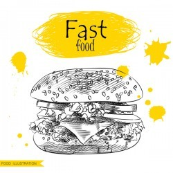 Fast food illustration hand drawing vectors 02