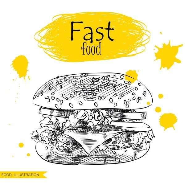 Fast food illustration hand drawing vectors 02