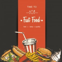 Fast food poster vectors template material 01