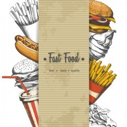 Fast food poster vectors template material 04