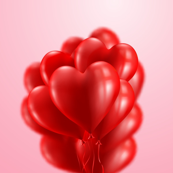 Red heart balloon with pink background vector