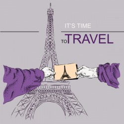 Eiffel tower with travel template vector 01