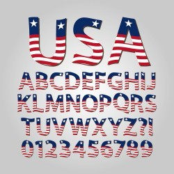 USA sytles number with alphabet vector
