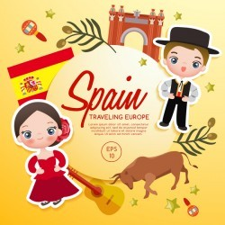 Spain travel cartoon template vector