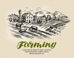 Farming hand drawing background vectors 02