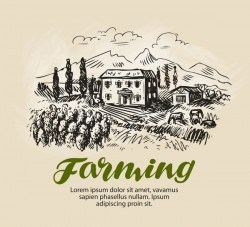 Farming hand drawing background vectors 06