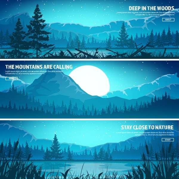 Nature landscape banners template vectors material 02