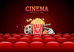 Movie theater background with red seats vector 05
