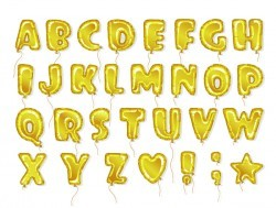 Golden balloon alphabet font vector