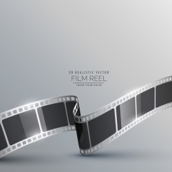 Film reel 3D realistic vector background 09