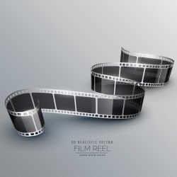 Film reel 3D realistic vector background 12