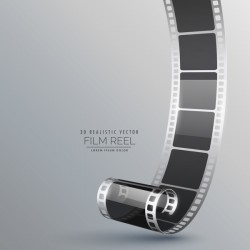 Film reel 3D realistic vector background 01