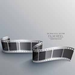 Film reel 3D realistic vector background 02