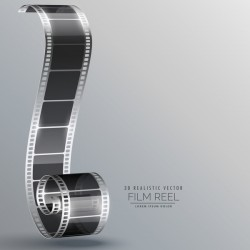 Film reel 3D realistic vector background 03