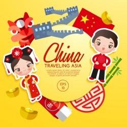 China travel cartoon template vector