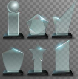 Glass awards template vectors 03