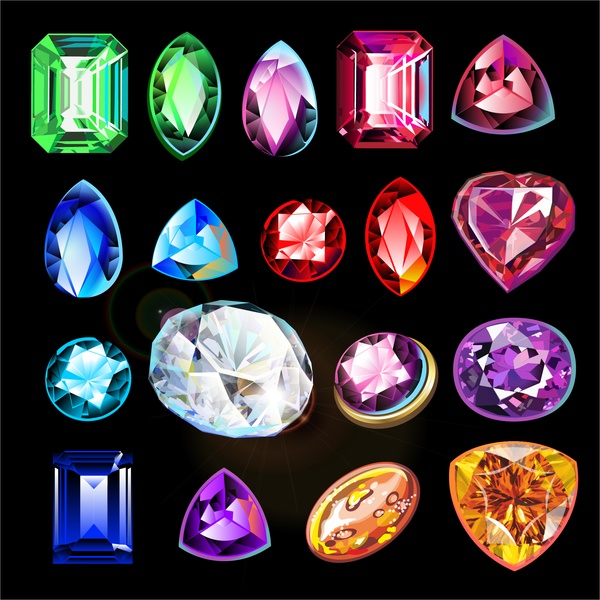 Colored gem vector illustration