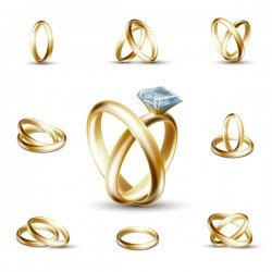 Shining gold ring vector set 02