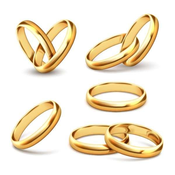 Shining gold ring vector set 03