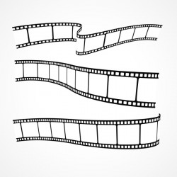 Hand drawn film reel vector 02