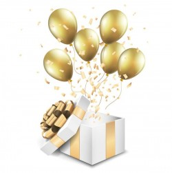Open golden giftbox with balloon vector