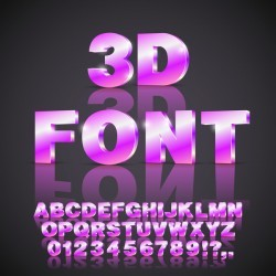 Purples 3D font gradient vector