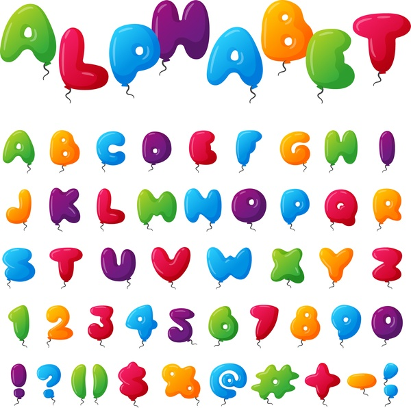 Colored balloon alphabet with numbers vector