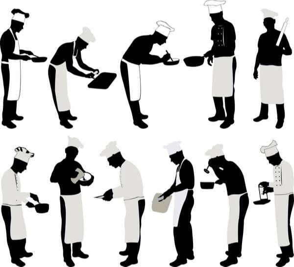 Chef silhouette vector set