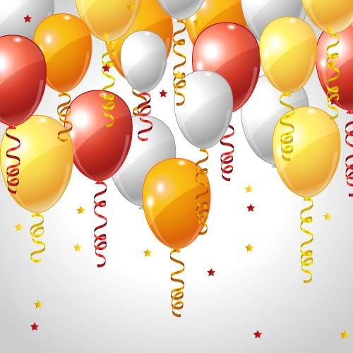 Red with orange and white balloons background vector