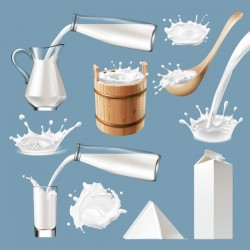 Casks and glass with milk splash illustration vectors