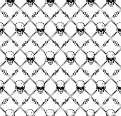 Ordered skull seamless pattern vector 02