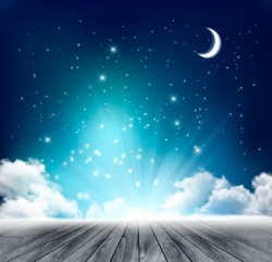 Night background with moon and clouds vector
