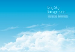 Day sky with white clouds background vector 01