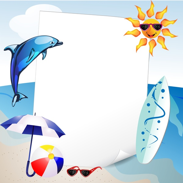 Summer travel background with beach and cartoon sun vector 05