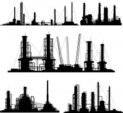 Oil and gas industry silhouette vectors set 01