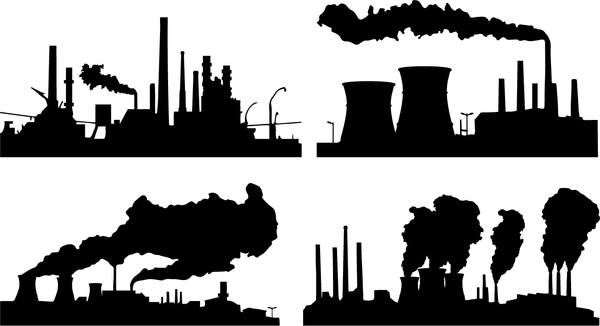 Oil and gas industry silhouette vectors set 02
