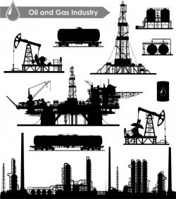 Oil and gas industry silhouette vectors set 03