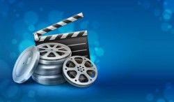 Online cinema background design vector 05