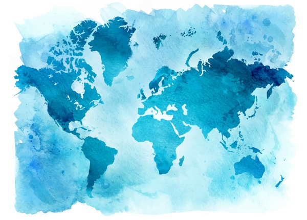 Watercolor world map vector 02