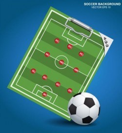 Soccer background with strategy vectors design 02