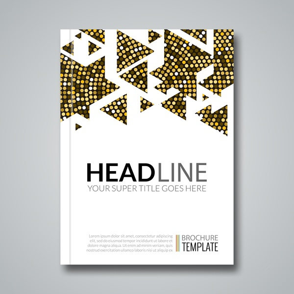 Golden with white brochrue cover template vector