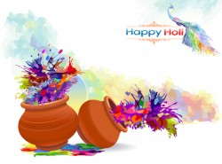 Happy Holi festival with color background vector 06