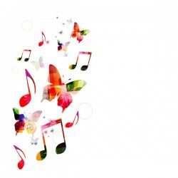 Notes and butterflies music background vector 15